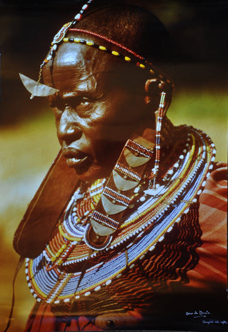 "Original Color Photograph of a Masai Woman in Africa by Arco de Bruin. 24"" x 16"" 1982"