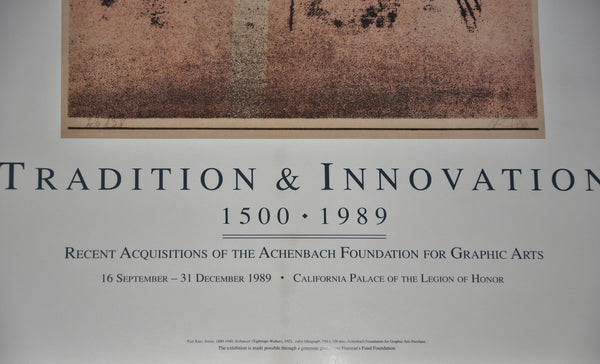 "Original Tradition and Innovation Achenbech Foundation California Palace of the Legion of Honor Exhibition Poster 1989 28"" x 18"""
