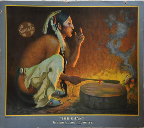 Original The Chant Indian-Detour Country Santa Fe Railroad Advertising Poster 1934