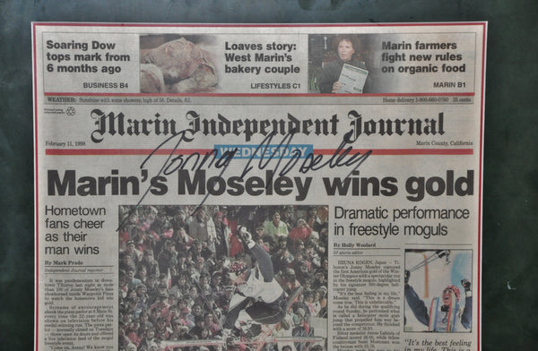"Framed Olympic Gold Medalist Jonny Moseley Autographed Marin Herald Newspaper 28"" x 19"""
