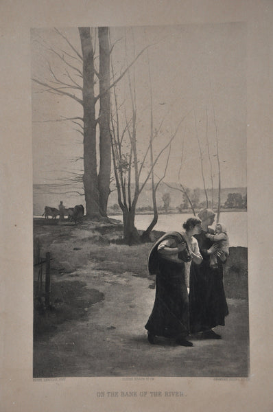 Vintage Late 1800s Gebbie Co. Photogravure On the Bank of the River by Henri Lerolle