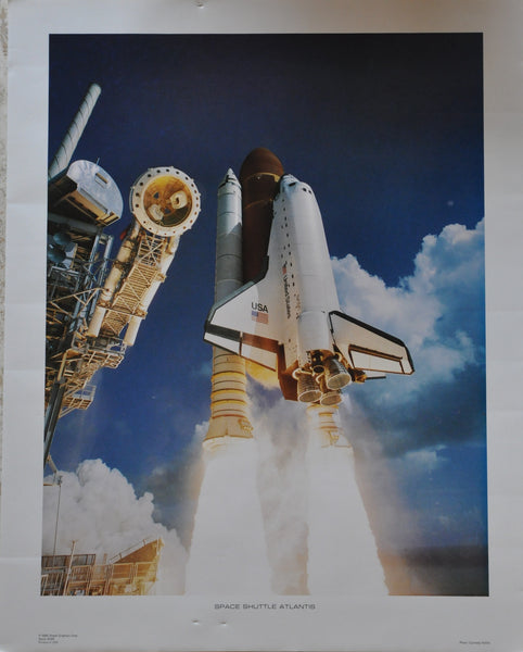 "Original NASA Space Shuttle Atlantis Launch Poster 1986 16"" x 20"""