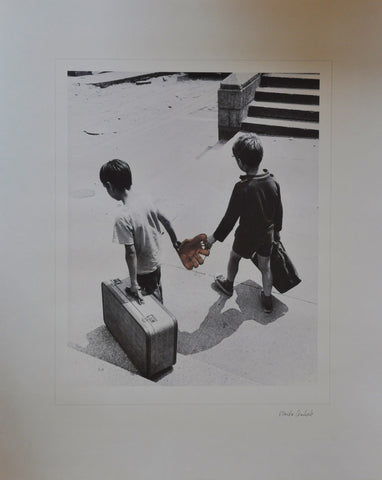 "Original Ulrike Welsch Lithograph of Boys with a Baseball Glove and Suitcases in Boston 16"" x 20"""