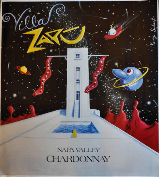 "Original Kenny Scharf Poster for the Villa Zapu Winery Napa 28"" x 25"" ~1990"