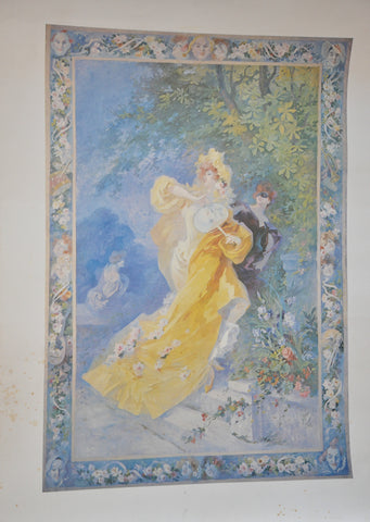"Original Le Domino Jeune by Jules Cheret Print 24"" x 18"" From Nice, France"