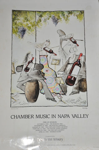 "Chamber Music in Napa 1988 Clos Du Val Winery Advertising Poster 25"" x 17"""