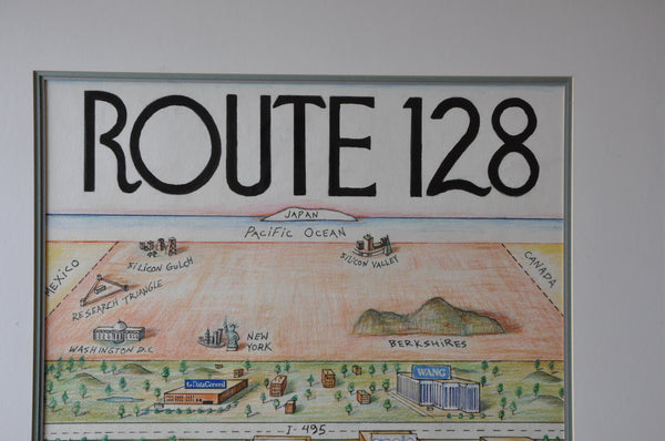 Original Route 128 Tech Corridor Poster by Kirby Scudder. Boston Massachusetts. Framed.