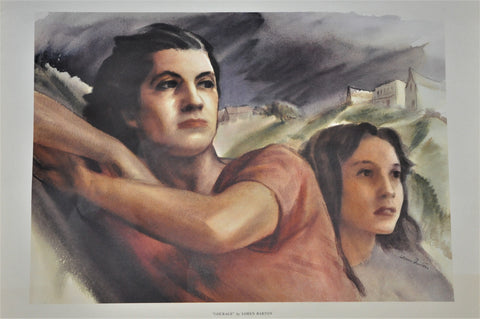 "Original Courage by Loren Barton Offset Lithograph 1943 26"" x 21"""