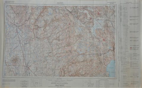 "Vintage Geologic Map of California Topo Map of Chico and Sierra Nevada 1965 35"" x 22"""
