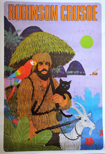 "Original Vintage Lithograph by George Tamura Robinson Crusoe 37"" x 25"" 1966"