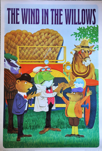 "Original Vintage Lithograph by George Tamura The Wind in the Willows 37"" x 25"" 1966"