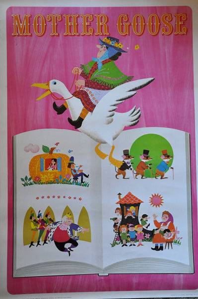 "Original Vintage Lithograph by George Tamura Mother Goose 37"" x 25"" 1966"