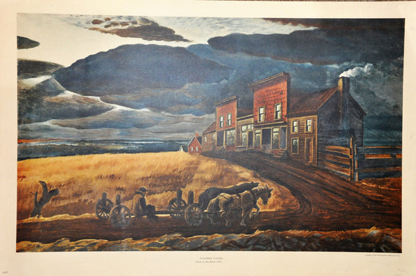 "Original Vintage Lithograph by Charles Burchfield 'November Evening' 26"" x 17"""