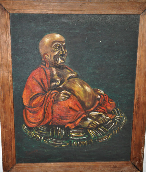"Original Oil Painting of a Fat Happy Buddha Oil on Board 26"" x 21"""