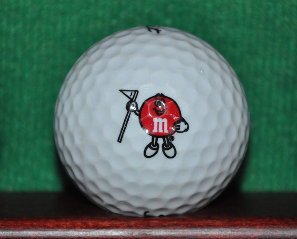 Golfing M&M Candy logo golf ball. Red M&M. Titleist