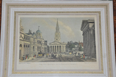 Framed Original 19th Century Etching of The New Opening to St. Martin's Church by Thomas H. Shepherd