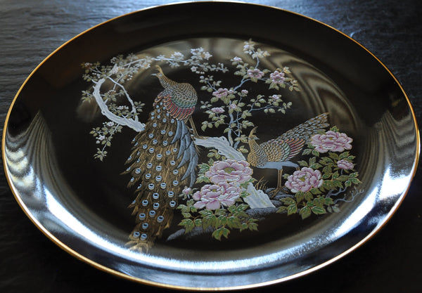 Japanese Kutani Ware Black Porcelain Plate with Gold Rim Peacock Motif 10.5""
