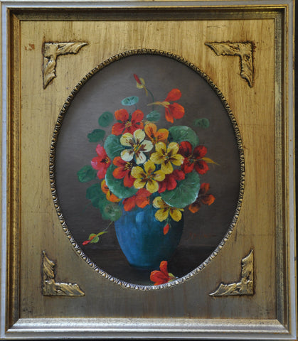 Original Oil Painting of Flowers in Vase by Atkins Oil on Wood. Gilt Frame
