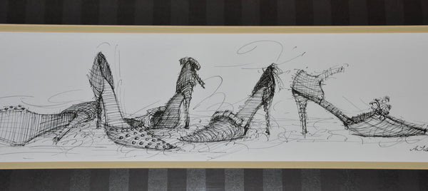 Original Ink Drawing by Avery Tillmon High Heeled Shoes