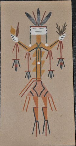 Original Navajo Sand Painting of a Corn Dancer