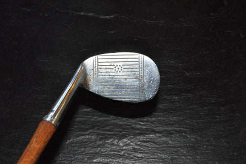 Antique Wright & Ditson Bee Line Niblic 19 Wedge with Hickory Shaft and Leather Grip