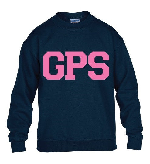 Youth Navy Crew Sweatshirt with Pink GPS