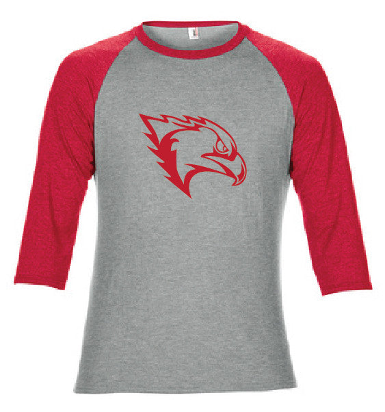 Heather Grey/Heather Red Triblend 3/4 Sleeve Baseball Shirt