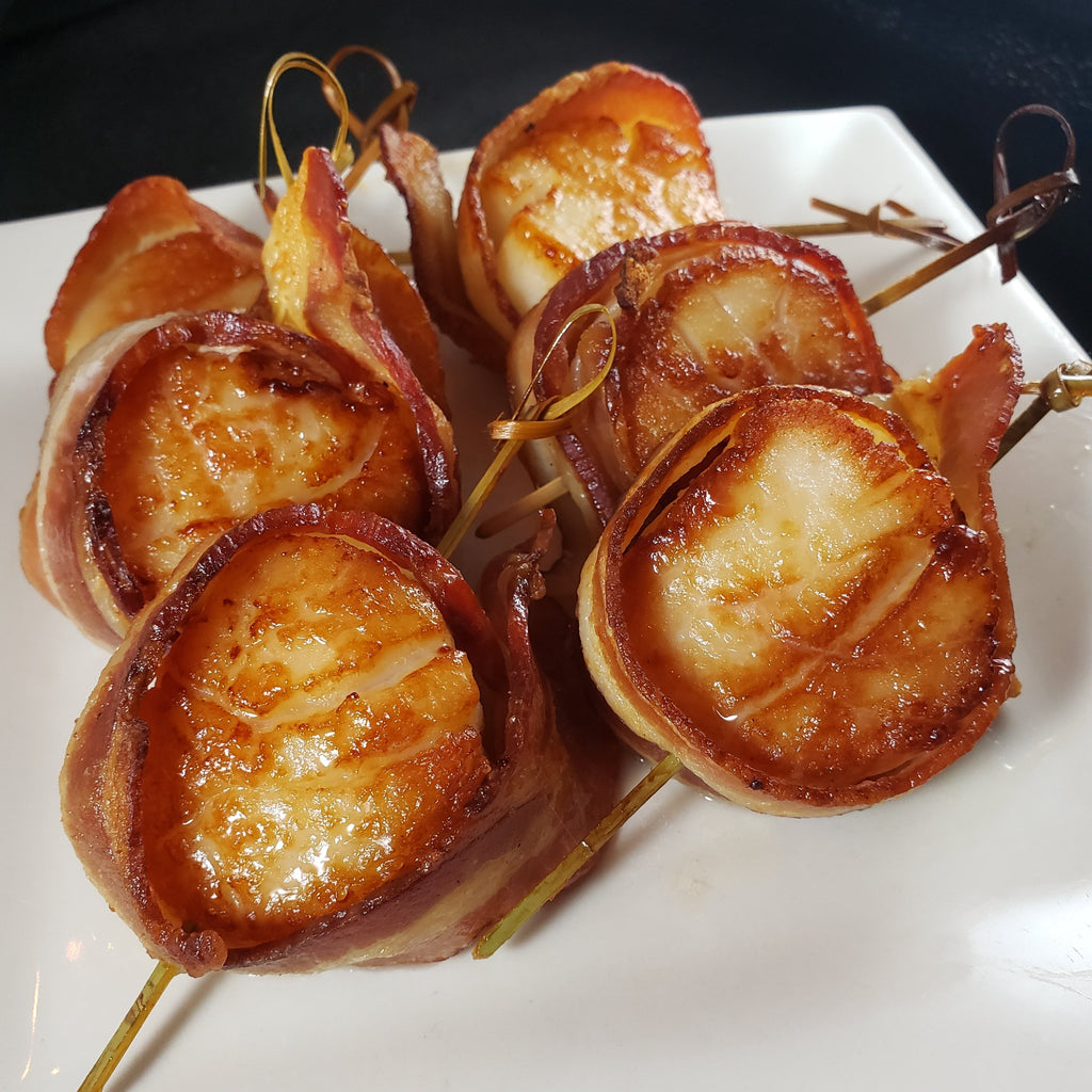 Bacon Wrapped Scallops, Maple Glazed