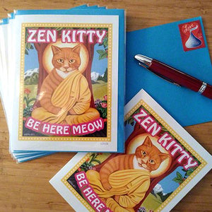 Zen Kitty set of 6 small, blank greeting cards by Retro Pets artist Krista Brooks, cat lover gift, cat cards, orange cat, zen kitty