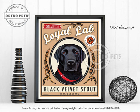 "Labrador Retriever ""Black Velvet Stout"" Art Print by Krista Brooks"