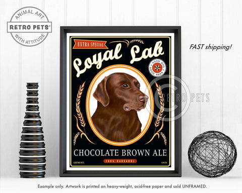 "Labrador Retriever Art ""Chocolate Brown Ale"" Art Print by Krista Brooks"