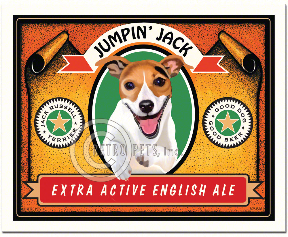 "Jack Russell Terrier ""Jumpin' Jack"" Art Print by Krista Brooks"