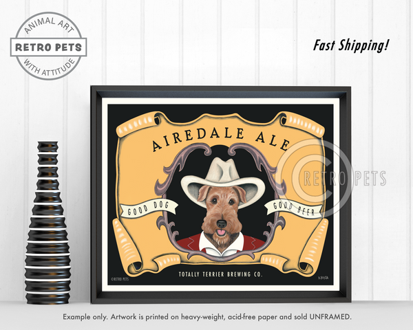 "Airedale Terrier Art ""Airedale Ale"" Art Print by Krista Brooks"