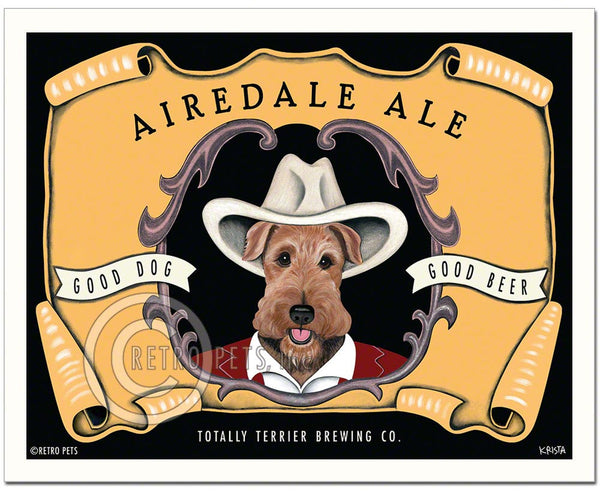 "Airedale Terrier ""Airedale Ale"" Art Print by Krista Brooks, airedale lover gifts, gift for airedale lover, dog lover gift, dog art"