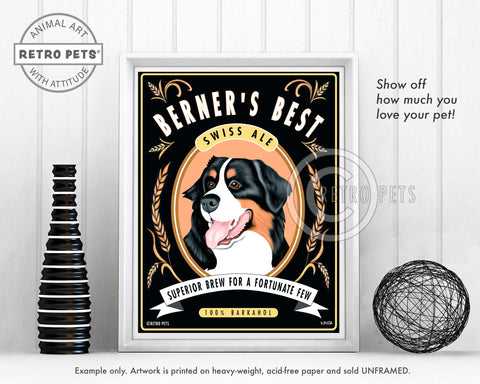 "Bernese Mountain Dog ""Berner's Best"" Art Print by Krista Brooks"