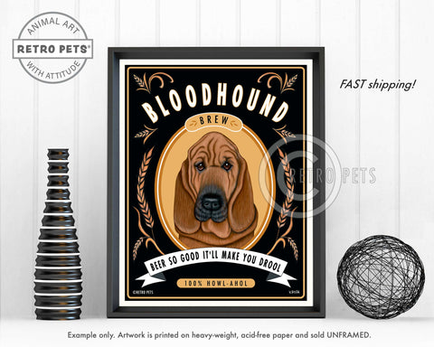 "Bloodhound Art ""Bloodhound Brew"" Art Print by Krista Brooks"