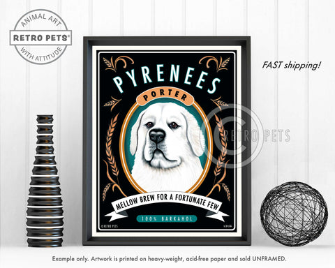 "Great White Pyrenees Art ""Pyrenees Porter"" Art Print by Krista Brooks"