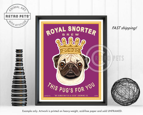 "Pug Art ""Royal Snorter Brew"" Art Print by Krista Brooks"