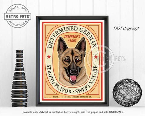 "German Shepherd Dog Art ""Determined German"" Art Print by Krista Brooks"