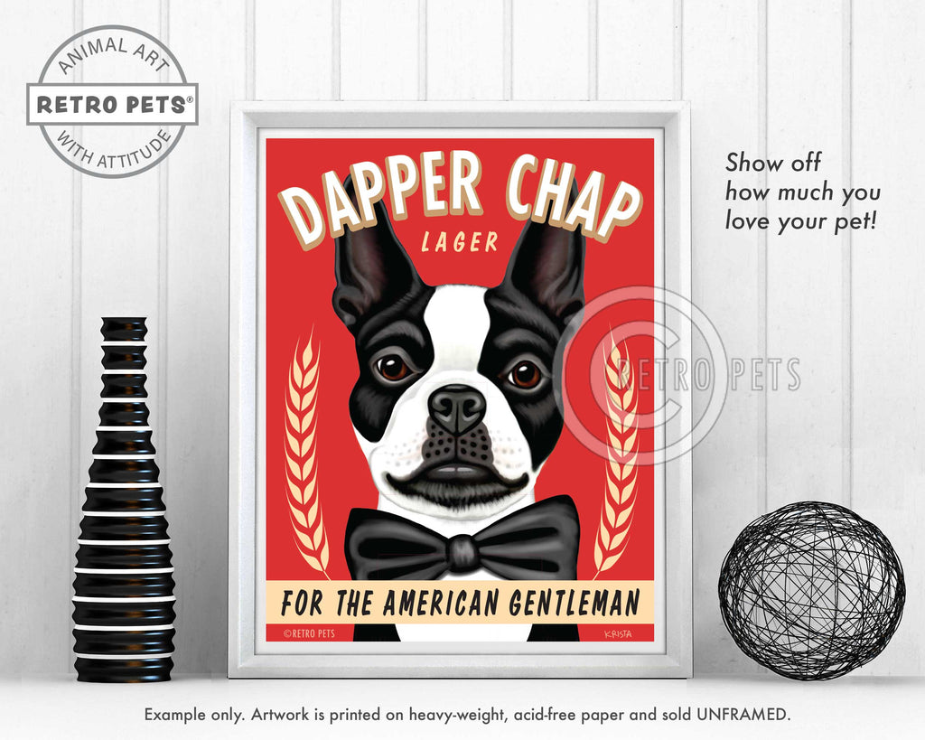"Boston Terrier Art ""Dapper Chap Lager"" Art Print by Krista Brooks"