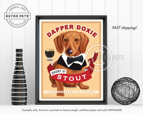"Dachshund Art ""Dapper Doxie"" Art Print by Krista Brooks"