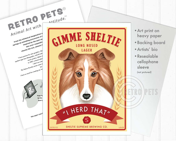 "Shetland Sheepdog (Sheltie) Art ""Gimme Sheltie"" Art Print by Krista Brooks"