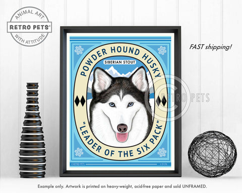 "Siberian Husky Art ""Powder Hound Husky"" Art Print by Krista Brooks"