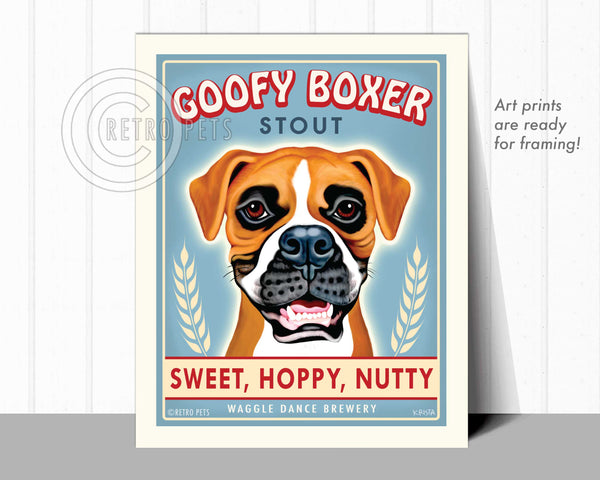 "Boxer Art ""Goofy Boxer"" Art Print by Krista Brooks"