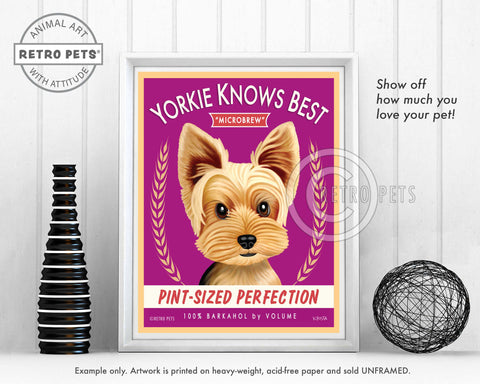 "Yorkshire Terrier Art ""Yorkie Knows Best"" Art Print by Krista Brooks"