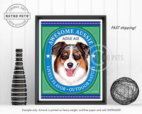 "Australian Shepherd Art ""Awesome Aussie Agile Ale"" Art Print by Krista Brooks"
