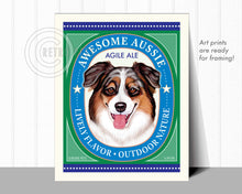 "Load image into Gallery viewer, Australian Shepherd Art ""Awesome Aussie Agile Ale"" Art Print by Krista Brooks"