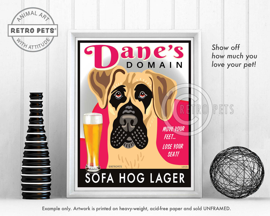 "Great Dane Art ""Dane's Domain - Sofa Hog Lager"" Art Print by Krista Brooks"