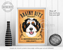 "Load image into Gallery viewer, Bernedoodle Art ""Brainy Ditz Draught"" Art Print by Krista Brooks"