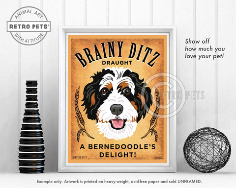 "Bernedoodle Art ""Brainy Ditz Draught"" Art Print by Krista Brooks"